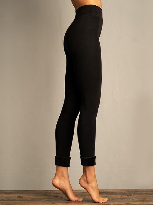 Lemon Fur Cuff Leggings Black - Chic Thrills Boutique