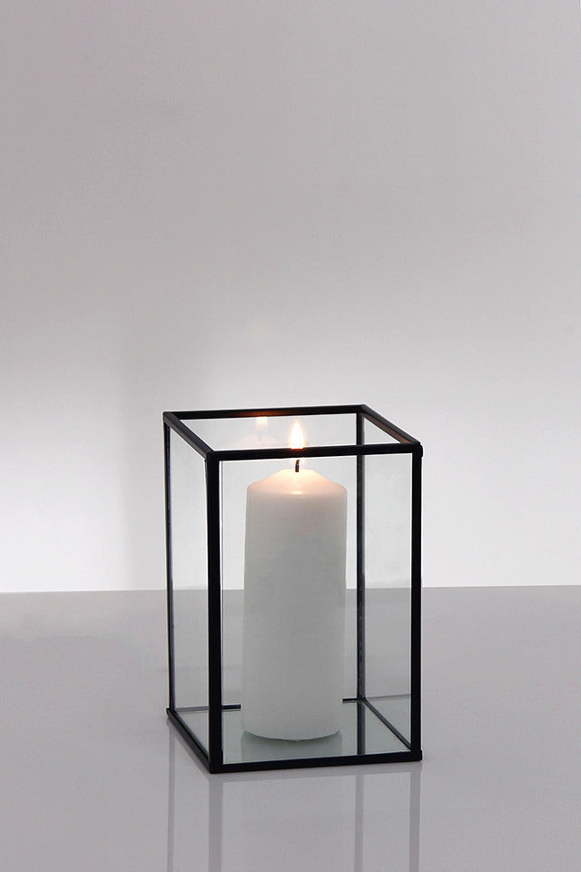 Lantern - glass and black - small