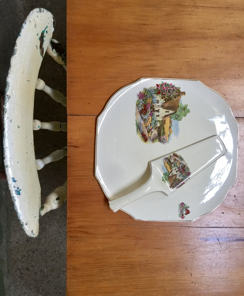Cake Plate and Server – painted ceramic