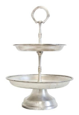 Cake Stand - Silver 2-Tier