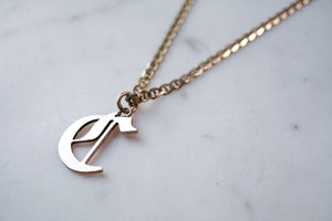 14K Gold Old English Letter Necklace