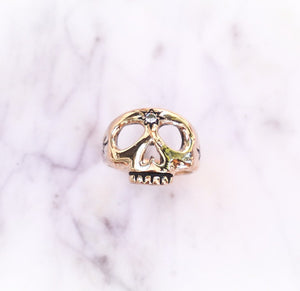 14k Gold Third Eye Skull Ring