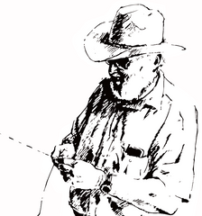 Old Man in cowboy hat with hatband is traditionally plaiting or braiding Kangaroo Leather to create a Hatband, belt or whip. This is an illustration made of line art.