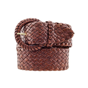 The Waratah - Kangaroo Plaited Ladies Leather Buckle Belt (43mm Wide)