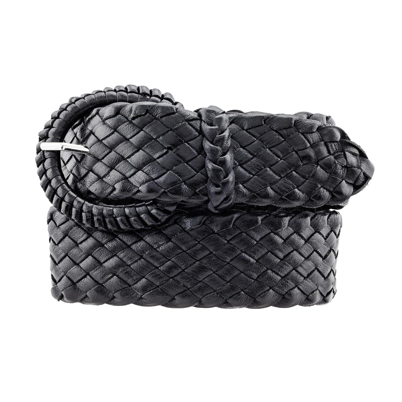 The Alice - Kangaroo Plaited Ladies Leather Buckle Belt (38mm Wide)