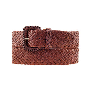 The Jackaroo- Kangaroo Plaited Ladies Leather Buckle Belt (32mm Wide)