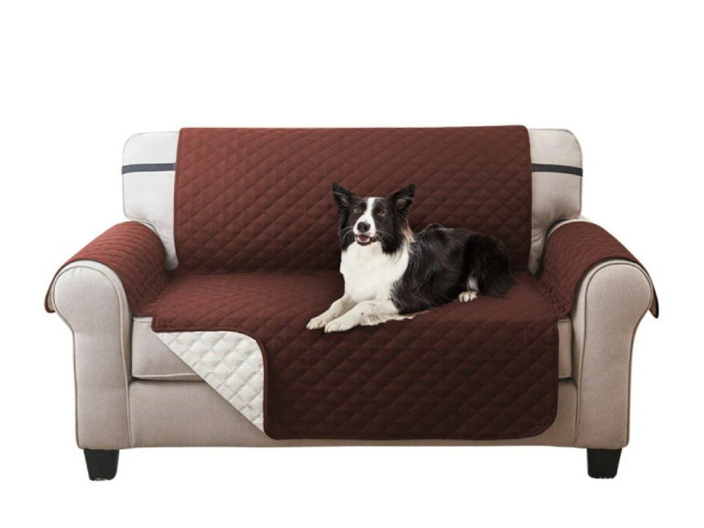 Waterproof Quilted Sofa Covers for Dogs Pets Kids Anti-Slip Couch Recliner Slipcovers 1/2/3 Seater Pet Mat - Brown Single-seat