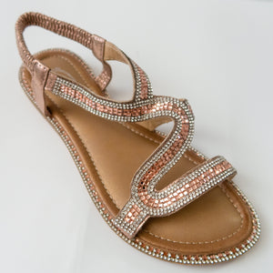 Crystal Curved Strap Slingback Sandals in Champagne
