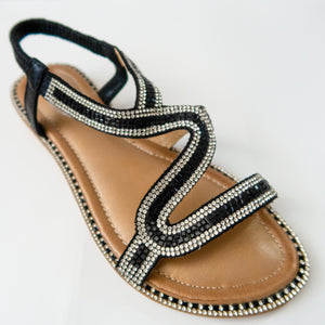 Crystal Curved Strap Slingback Sandals in Black