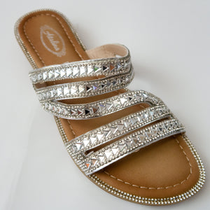 Strappy Crystal Slip-on Flat Sandals in Silver