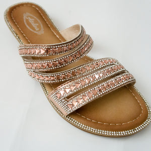 Strappy Crystal Slip-on Flat Sandals in Champagne/Rose Gold