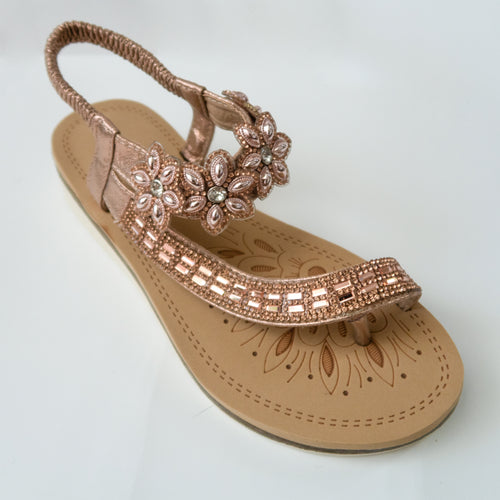 Floral Crystal Embellished Toe Ring Slingback Sandals in Champagne/Rose gold