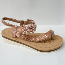 Load image into Gallery viewer, Floral Crystal Embellished Toe Ring Slingback Sandals in Champagne/Rose gold