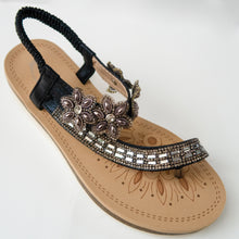 Load image into Gallery viewer, Floral Crystal Embellished Toe Ring Slingback Sandals in Black