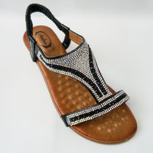 Load image into Gallery viewer, Black Comfortable Padded Crystal Embellished Open-Toe Sandals with Slingback Strap