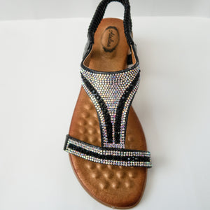 Black Comfortable Padded Crystal Embellished Open-Toe Sandals with Slingback Strap