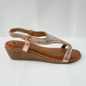 Champagne/rose gold Comfortable Padded Crystal Embellished Open-Toe Sandals with Slingback Strap