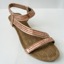 Load image into Gallery viewer, Strappy Crystal-Embellished Slingback Strap Open-Toe Sandals in Champagne/Rose Gold