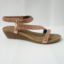Load image into Gallery viewer, Strappy Crystal-Embellished Slingback Strap Open-Toe Slight Wedge Sandals in Champagne/Rose Gold