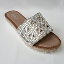 Load image into Gallery viewer, Silver Flatform Crystal Triangular Cutout Slip-On Sandals