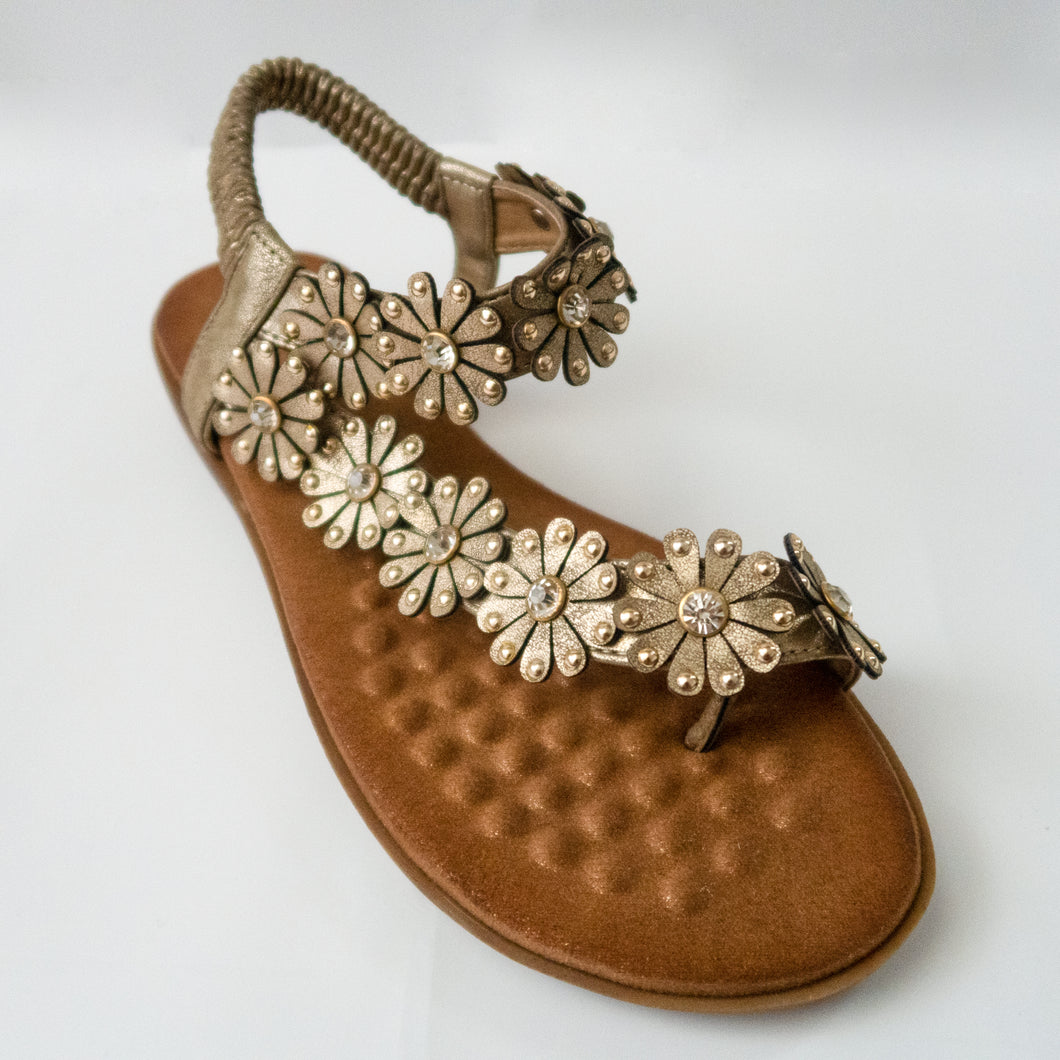 Floral/Flower embellished Toe Ring Slingback Flat Sandals in Gold