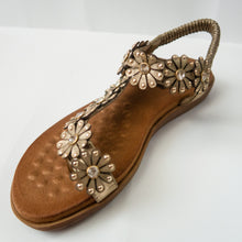 Load image into Gallery viewer, Floral/Flower embellished Toe Ring Slingback Flat Sandals in Gold