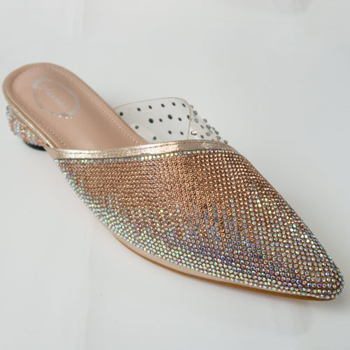 iridescent crystal cascading pointed-toe kitten-heel mule in champagne