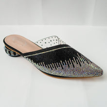 Load image into Gallery viewer, iridescent crystal cascading pointed-toe kitten-heel mule in black