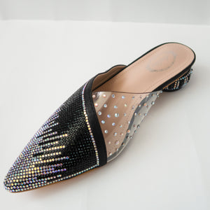 iridescent crystal cascading pointed-toe kitten-heel mule in black