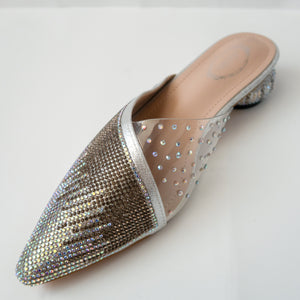 iridescent crystal cascading pointed-toe kitten-heel mule in silver