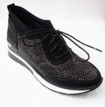 Load image into Gallery viewer, Black Crystal-embellished lace-up sneakers with a slight wedge.