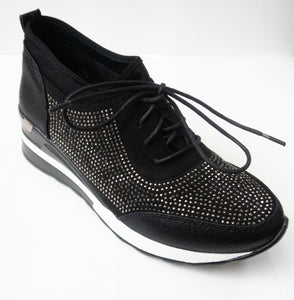 Black Crystal-embellished lace-up sneakers with a slight wedge.