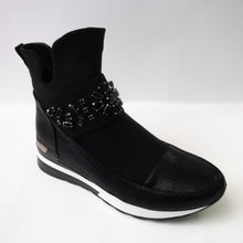 Load image into Gallery viewer, Black Sneaker Boots with Floral Crystal Embellishments