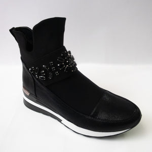 Black Sneaker Boots with Floral Crystal Embellishments