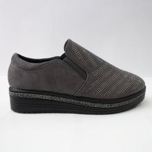 Load image into Gallery viewer, Dark grey slip-on sneakers with diagonal crystal-embellishments on the upper