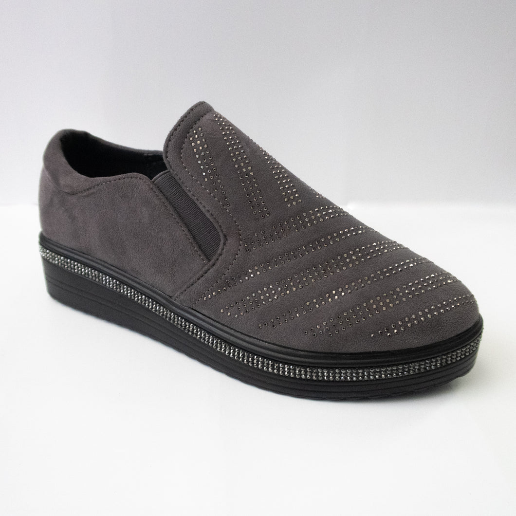 Dark grey slip-on sneakers with diagonal crystal-embellishments on the upper