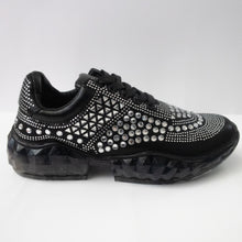 Load image into Gallery viewer, Black crystal-embellished sneakers with glitter laces and chunky rubber sole.