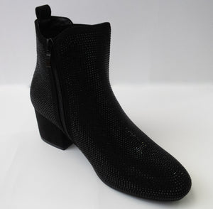 Black crystal ankle booties with a slight heel and side-zipper.