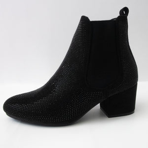 Black Crystal Ankle Booties