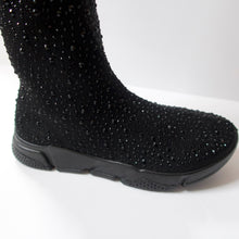 Load image into Gallery viewer, Black knee-high sock sneaker boot hybrid with crystal embellishments. Stretchy sock-knit upper embellished with black crystals. Pull-on style. Black sneaker-like soles.