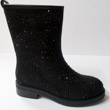 Load image into Gallery viewer, Black boots with a side-zipper.   Inner side-zipper. Cut at the mid-calf. Round-toe. Suede-like upper with black crystal embellishments.