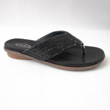 Load image into Gallery viewer, All black flip-flops with crystal-embellished straps.