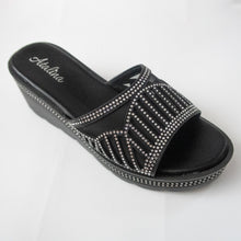 Load image into Gallery viewer, Black Wedge Sandals with Crystals