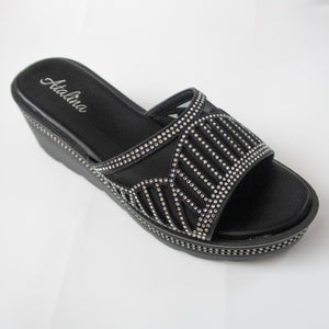 Black Wedge Sandals with Crystals