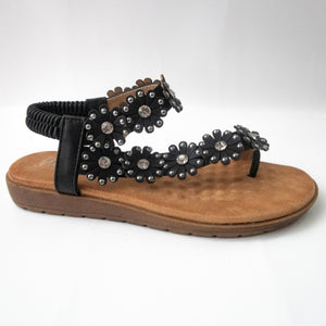 Black Floral Toe Ring Slingback Flat Sandals