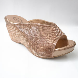 Rose Gold All-over Crystal Wedges