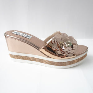 Floral Wedge Sandals (SILVER/ROSE GOLD)