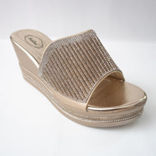 Load image into Gallery viewer, Gold slip-on wedges with crystals embellishing the upper strap.