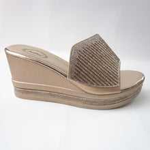 Load image into Gallery viewer, Gold slip-on wedges with crystals embellishing the upper strap. (side view)
