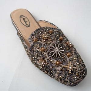 Embellished Slip-on Loafers (BRONZE/BLACK)